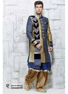 Couleur Bleu Soie Banarasi Indien de Concepteur Style Dhoti Sherwani Pour le Marié