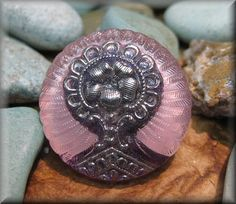 ONE BUTTON  Gorgeous Pink Large Czech Glass by ArtfulBeadStudio, $7.00