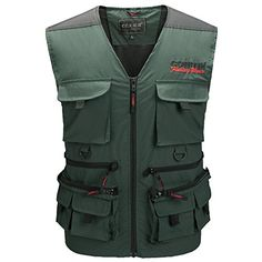Greatrees Men's Sports Waistcoat Personal Device Fishing Vest Vest Green L  http://fishingrodsreelsandgear.com/product/greatrees-mens-sports-waistcoat-outdoor-personal-fishing-vest/?attribute_pa_color=green&attribute_pa_size=l  Faric: 100% Nylon,Lining: 100% Polyester Comfortable mesh shoulders and back for added ventilation,fully lined with polyester mesh make you feel cool comfort fishing. Multiple sturdy zip compartment provides multiple function