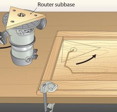 "A routed groove adds interest to flat-panel doors, but finding a way to radius the corners was a mystery to me. This router subbase changes that. First, build a router subbase from 1⁄4"" Baltic birch plywood in the shape of an equilateral triangle (one with three equal-length sides). Keep in mind, the distance between the router's bit and the triangle's sides equals that between the door's rails or stiles and the decorative groove. Use the door's rails and stiles as guides for the"
