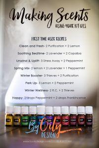 Essential Oil diffuser recipes for the beginning diffuser. Simple diffuser recipes using Young Living Premium Starter kit oils. www.byoilydesign.com YL#3177383