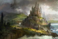 ArtStation castle hongqi zhang Fantasy art landscapes Fantasy castle Fantasy pictures