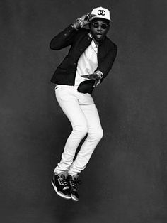 Theophilus London from Karl Lagerfeld and Carine Roitfeld's forthcoming book The Little Black Jacket: Chanel's Classic Revisited Kanye West, Karl Lagerfeld, Anna Wintour, Sarah Jessica Parker, Leather Men, Leather Jacket, Chanel Online, Revival Clothing, Carine Roitfeld