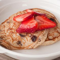 Chocolate Chip Pancakes with Berries