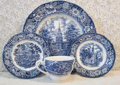 Liberty Blue 4 Pcs Place Setting China Wedgwood Staffordshire Ironstone England