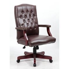 this sophisticated executive office chair features a mahogany