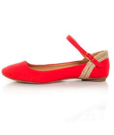 Red linen ankle strap ballet flats... :)
