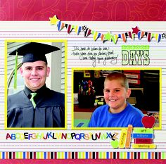 Cheerful Power Palette Project Ideas: Cheerful School Scrapbook Layout Project Idea