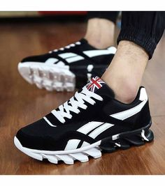 Men s  black casual lace up shoe  sneakers pattern print 49d287d14ae2f