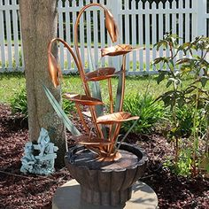 Sunnydaze Copper Flower Petals with Five Tier Leaves Outdoor Water Fountain 34 Inch Tall Includes Electric Pump >>> Click image for more details. (This is an affiliate link and I receive a commission for the sales) #OutdoorFurniture