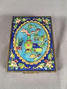 Vintage Repousse Trinket Box With Wood Lining/ Insert Brass Enamel China
