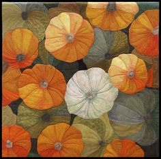 """Autumn Abundance"" by Lisa Davis - Machine pieced & quilted, over coloured using pencil. Gorgeous!"