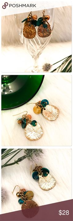 NWT Jade Green Beaded Sand Dollar Dangle Earrings These are super fun Earrings! The colors are gorgeous and the pictures do not do them justice! They are also nice and lightweight! Boutique Jewelry Earrings