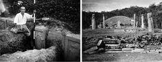 90년 전 일본 학자가 찍은 경주 발굴 사진 700장 공개 일제시대 경북 경주시 구황동 황복사(皇福寺)터 삼층석탑(국보 제37호) 주변에 배치된 십이지상(十二支像·12간지 동물을 형상화한 상)이 어떻게 발굴 조사됐는지 보여주는 희귀 사진이 대거 공개됐다. 지금은 경관이 달라진 신라 왕릉의 1930년대 모습, 원원사(遠源寺)터에 나란히 서 있는 쌍탑인 삼층석탑(보물 제1429호)이 발굴·복원되는 과정도 생생히 담겼다