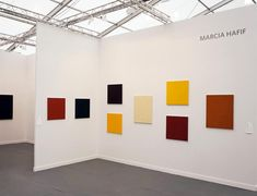 Marcia Hafif's monochromes, installed at Fergus McCaffrey's booth at Frieze New York. KATHERINE MCMAHON/ARTNEWS
