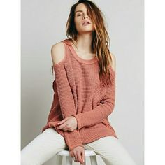 Free People Sunset Open Shoulder Lightweight knit from free people.  Fits a bit oversized. Free People Sweaters