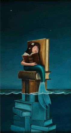 What book does the mermaid dream? - illustration by Poul Reading Art, Reading Books, What Book, World Of Books, Merfolk, Lectures, I Love Books, Book Illustration, Book Nerd
