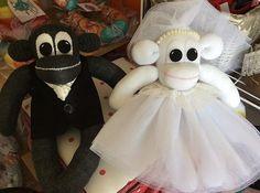 Bride and groom just a few finishing touches #brideandgroom #monkeys #sockmonkeys handmade #Sunnyteddys