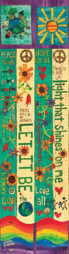 Painted Peace and Lennon and McCartney! BUY DIRECTLY FROM Stephanie Burgess, the first artist to introduce the concept of the Art Pole! Let It Be Art Pole 6 foot Peace Painting, Music Painting, Music Lyrics Art, Lyric Art, Lyric Quotes, Quotes Quotes, Peace Pole, Garden Poles, Garden Gate