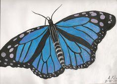 Mariposa hecha con acuarelas y pinturas acrílicas.