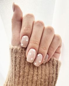 Simple manicure white white 3d stars and nude pink base. #nailart #manicure #mani