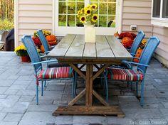 Fantastic DIY patio  — self-installed paver patio, DIY farm table (Anna White plans)