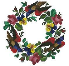 Hey, I found this really awesome Etsy listing at https://www.etsy.com/listing/234212676/pancies-wreath-with-roses-and-birds