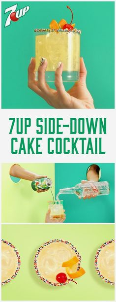 Start with sprinkles. Add cake-flavored vodka, pineapple juice, and 7UP, and you've got a party in a glass. #DoMoreWith7UP Please enjoy responsibly 21+