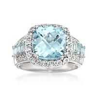 """""""6.00 ct. t.w. Blue Topaz Ring with White Topaz and Diamond Accent in Sterling Silver. Size 6"""": """"Today the ice is extra… #Jewelry #Watches"""
