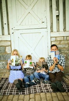 This mom has some great advice about how to prepare for adorable family photos (like the one above that includes meaningful props: each family member's favorite book!)