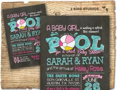 A baby girl is making a splash this summer celebrate with this fresh new invitation for a fun summer baby shower theme. www.2birdstudios.etsy.com