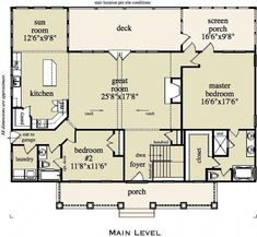 Craftsman House Plan with Dramatic Vaulted Great Room and Detached Garage - floor plan - Main Level Cottage House Plans, Small House Plans, Cottage Homes, House Floor Plans, Basement Floor Plans, Basement Flooring, Cozy Cottage, Master Room, Master Closet