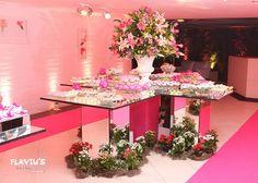 Pink wedding dessert table