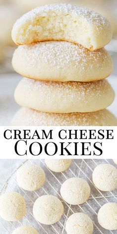 These Lemon Crinkle cookies are delicious! Just 4 ingredients to make this easy lemon cool whip cookies recipe. The Best Cake mix cookies! Best cookies for summer parties! Cream Cheese Cookies, Cookies Et Biscuits, Cheese Scones, Easy Cream Cheese Desserts, Cream Cheese Snacks, Easy Cheese, Cookie Recipe With Cream Cheese, Recipes With Cream Cheese, Cream Cheese Cookie Recipe