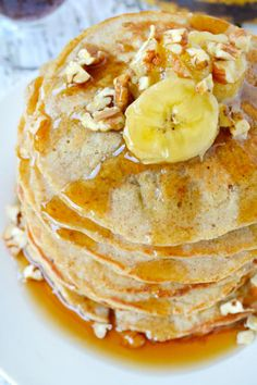 Banana Oat Pancakes are delicious pancakes with mashed bananas in the batter.
