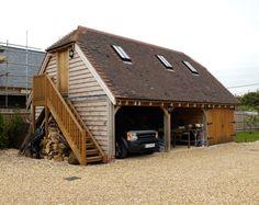 Garages with rooms above - Border Oak - oak framed houses, oak framed garages and structures. Oak Framed Buildings, Timber Buildings, Garage Loft, Barn Garage, Garage With Room Above, Halle, Garage Design, House Design, Timber Frame Garage