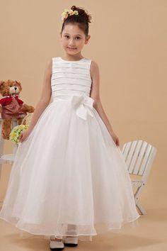 Abito da comunione  Abito da Cerimonia Bambini in pizzo Senza Maniche  Chiffon Coperta Cute Wedding f3db184e576