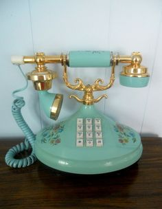 Vintage Blue Telephone - Empress Push Button Princess Style by Western Electric.