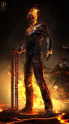 Marvel Ghost Rider: Spirit of Vengeance Concept Art Marvel Comics Art, Marvel Vs, Marvel Heroes, Captain Marvel, Dark Comics, Ghost Rider Wallpaper, Marvel Wallpaper, Tiger Wallpaper, Amazing Wallpaper