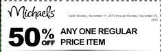 Michael's: Get 50% Off Any One Regular Priced Item w/ Printable Coupon (Exp 11/25) | SassyDealz.com
