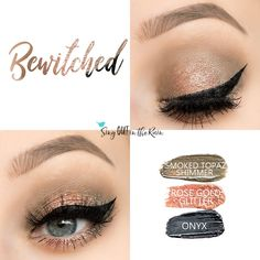 Bewitched Eye Trio uses three SeneGence ShadowSense : Smoked Topaz Shimmer, Rose Gold Glitter and Onyx. These creme to powder eyeshadows will last ALL DAY on your eye. #shadowsense #trio #shadowsensetrio #eyeshadow #bewitched