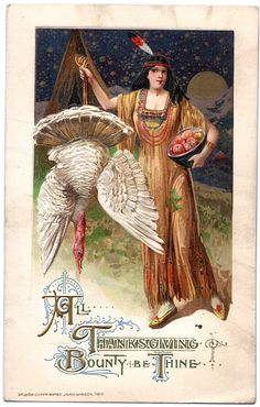A wonderful vintage Thanksgiving postcard showing a lovely Indian Maiden holding up a white turkey and also holding a bowl of apples. This is done by the artist Schmucker, but unsigned. Design copyright by John Winsch 1912