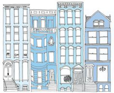 Artist Alessandra Olanow at Illustration Division Building Drawing, Building Art, Building Illustration, House Illustration, Bullet Journal Travel, Romantic Paintings, Buch Design, House Drawing, Colouring Pages