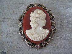 Vintage Cameo Brooch by mimiyaya on Etsy, $22.00