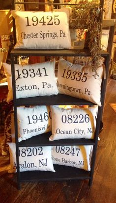 This pretty idea comes from Dragonfly Decor. I would make crochet pillows, then embroider my zip and town!