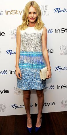 Kate Bosworth wearing a Peter Pilotto shift with a leather Chanel clutch and pointy-toe pumps.