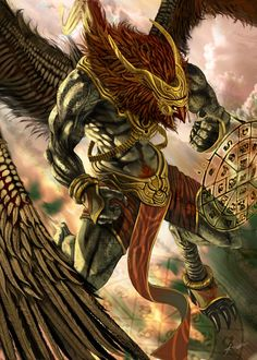Garuda- Hindu myth: he was the vehicle for the god Vishnu. He was depicted as a strong, built man with the beak and wings of an eagle. He was the sworn enemy to the serpent race called the Naga. He exclusively ate off them.