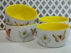 A Geminiana - Conjunto de Bowl - Borboletas porcelana pintada a mão