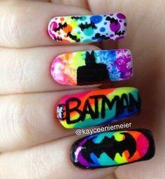 Who doesnt love rainbow batman nails Superhero Nails, Batman Nails, Batman Batman, Love Nails, Pretty Nails, My Nails, Orange Nail Designs, Nail Art Designs, Rasta Nails