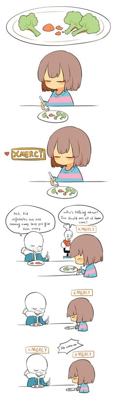 Frisk giving vegetable mercy so they don't have to eat them, sans picking up and Papyrus scolding them